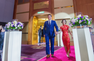 Jeremiah and Caroline in Taiwan for their wedding reception in 2017.