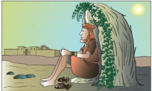 Jonah, Nineveh, and the bush. Graphic from idlewords.org.